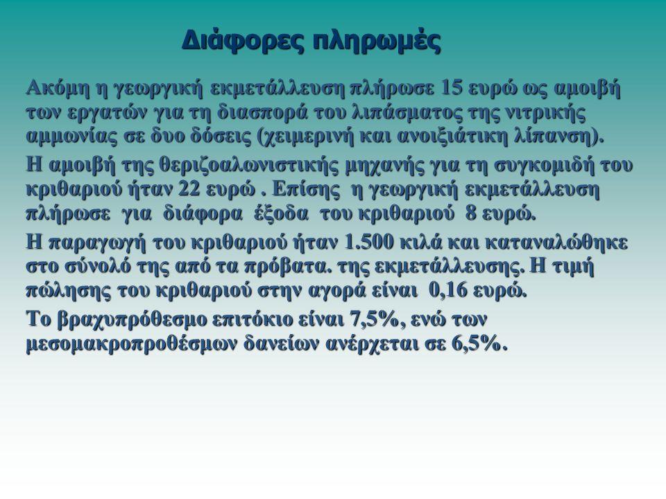 Ακόμη η γεωργική εκμετάλλευση πλήρωσε 15 ευρώ ως αμοιβή των εργατών για τη διασπορά του λιπάσματος της νιτρικής αμμωνίας σε δυο δόσεις (χειμερινή και ανοιξιάτικη λίπανση).