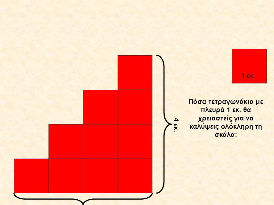 1 εκ. 4 εκ. Πόσα τετραγωνάκια με πλευρά 1 εκ. θα χρειαστείς για να καλύψεις ολόκληρη τη σκάλα;