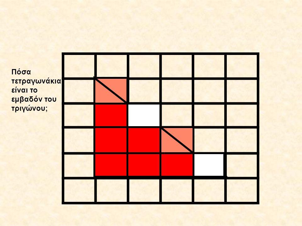 Πόσα τετραγωνάκια είναι το εμβαδόν του τριγώνου;