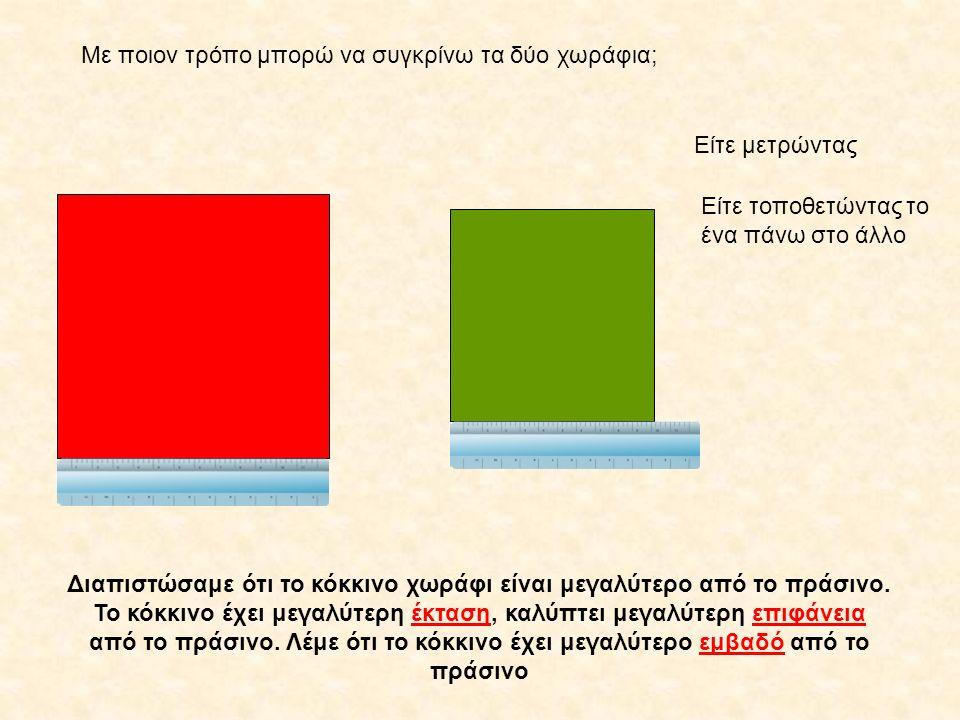 Με ποιον τρόπο μπορώ να συγκρίνω τα δύο χωράφια; Είτε μετρώντας Είτε τοποθετώντας το ένα πάνω στο άλλο Διαπιστώσαμε ότι το κόκκινο χωράφι είναι μεγαλύ