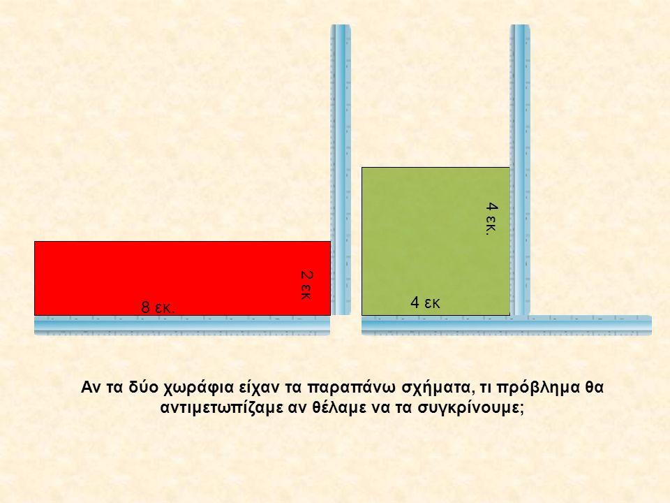 Αν τα δύο χωράφια είχαν τα παραπάνω σχήματα, τι πρόβλημα θα αντιμετωπίζαμε αν θέλαμε να τα συγκρίνουμε; 8 εκ. 4 εκ 2 εκ 4 εκ.