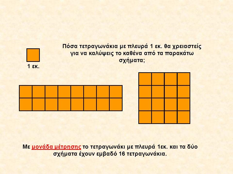 2 εκ. 8 εκ. 4 εκ. 1 εκ. Πόσα τετραγωνάκια με πλευρά 1 εκ. θα χρειαστείς για να καλύψεις το καθένα από τα παρακάτω σχήματα; Με μονάδα μέτρησης το τετρα