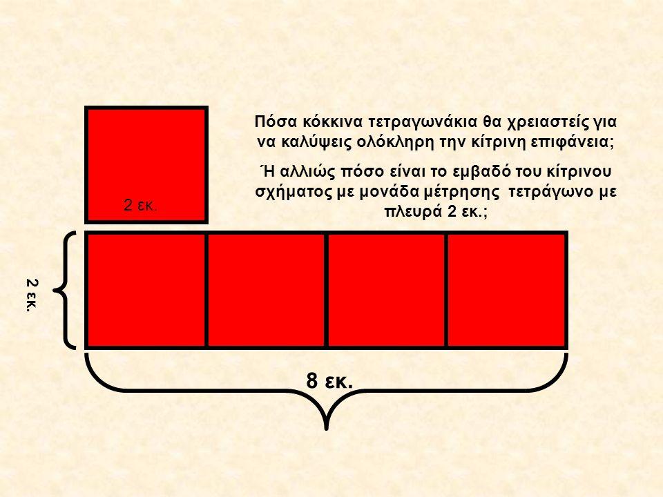 2 εκ. 8 εκ. 2 εκ. Πόσα κόκκινα τετραγωνάκια θα χρειαστείς για να καλύψεις ολόκληρη την κίτρινη επιφάνεια; Ή αλλιώς πόσο είναι το εμβαδό του κίτρινου σ