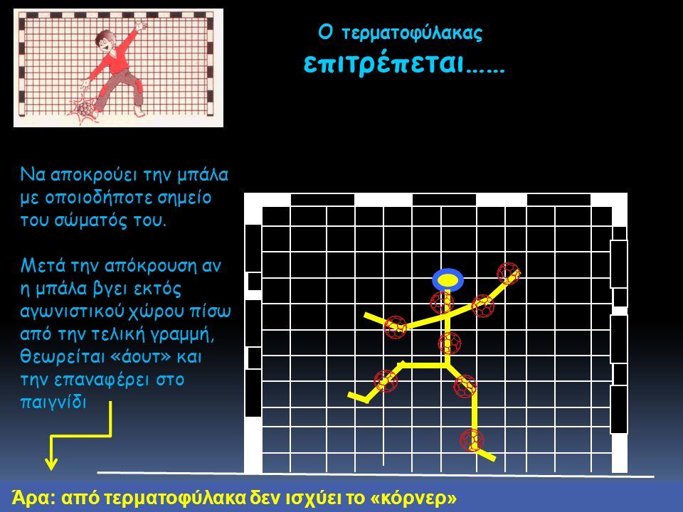 Ο τερματοφύλακας επιτρέπεται…… επιτρέπεται…… Άρα: από τερματοφύλακα δεν ισχύει το «κόρνερ» Nα αποκρούει την μπάλα με οποιοδήποτε σημείο του σώματός του.