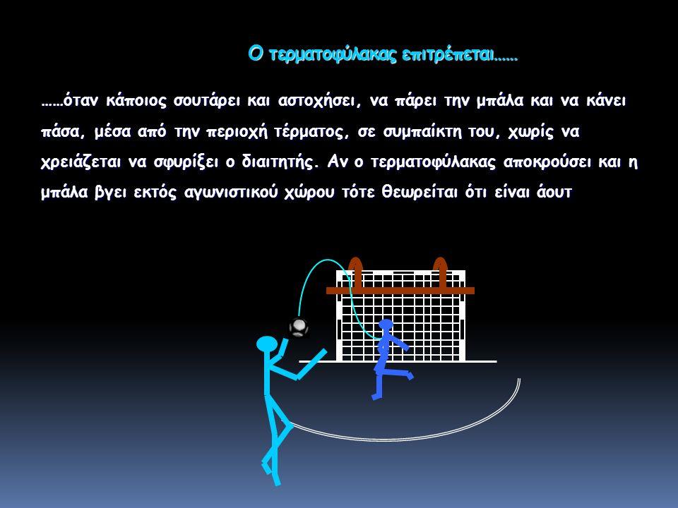 Ο τερματοφύλακας επιτρέπεται…… Ο τερματοφύλακας επιτρέπεται…… ……όταν κάποιος σουτάρει και αστοχήσει, να πάρει την μπάλα και να κάνει πάσα, μέσα από την περιοχή τέρματος, σε συμπαίκτη του, χωρίς να χρειάζεται να σφυρίξει ο διαιτητής.