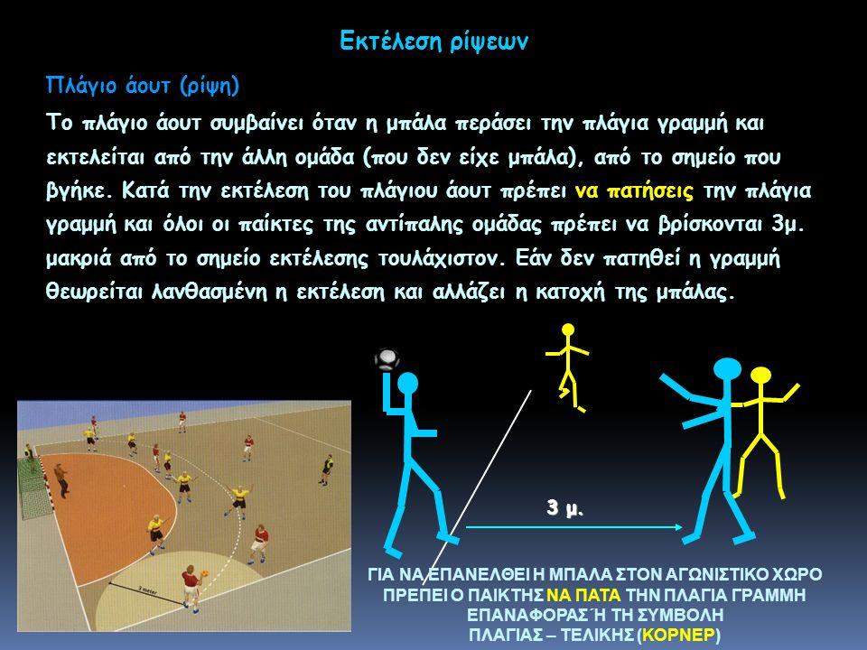 Εκτέλεση ρίψεων Το πλάγιο άουτ συμβαίνει όταν η μπάλα περάσει την πλάγια γραμμή και εκτελείται από την άλλη ομάδα (που δεν είχε μπάλα), από το σημείο που βγήκε.