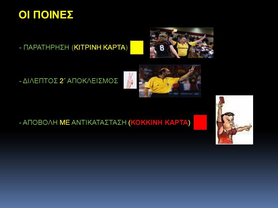 ΟΙ ΠΟΙΝΕΣ - ΠΑΡΑΤΗΡΗΣΗ (ΚΙΤΡΙΝΗ ΚΑΡΤΑ) - ΔΙΛΕΠΤΟΣ 2΄ ΑΠΟΚΛΕΙΣΜΟΣ - ΑΠΟΒΟΛΗ ΜΕ ΑΝΤΙΚΑΤΑΣΤΑΣΗ (ΚΟΚΚΙΝΗ ΚΑΡΤΑ)
