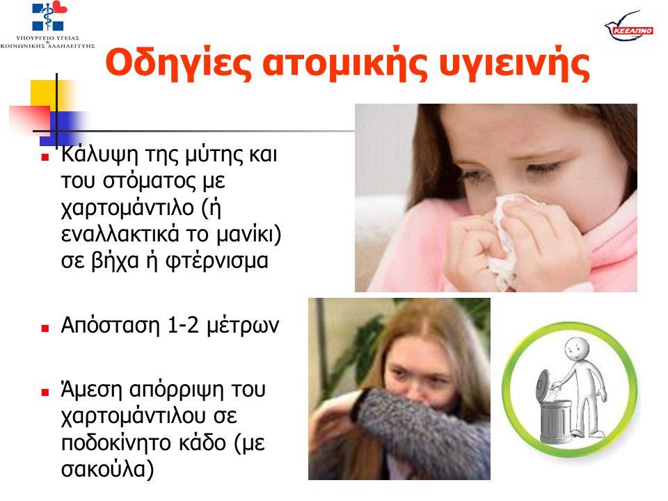 Οδηγίες ατομικής υγιεινής Κάλυψη της μύτης και του στόματος με χαρτομάντιλο (ή εναλλακτικά το μανίκι) σε βήχα ή φτέρνισμα Απόσταση 1-2 μέτρων Άμεση απόρριψη του χαρτομάντιλου σε ποδοκίνητο κάδο (με σακούλα)