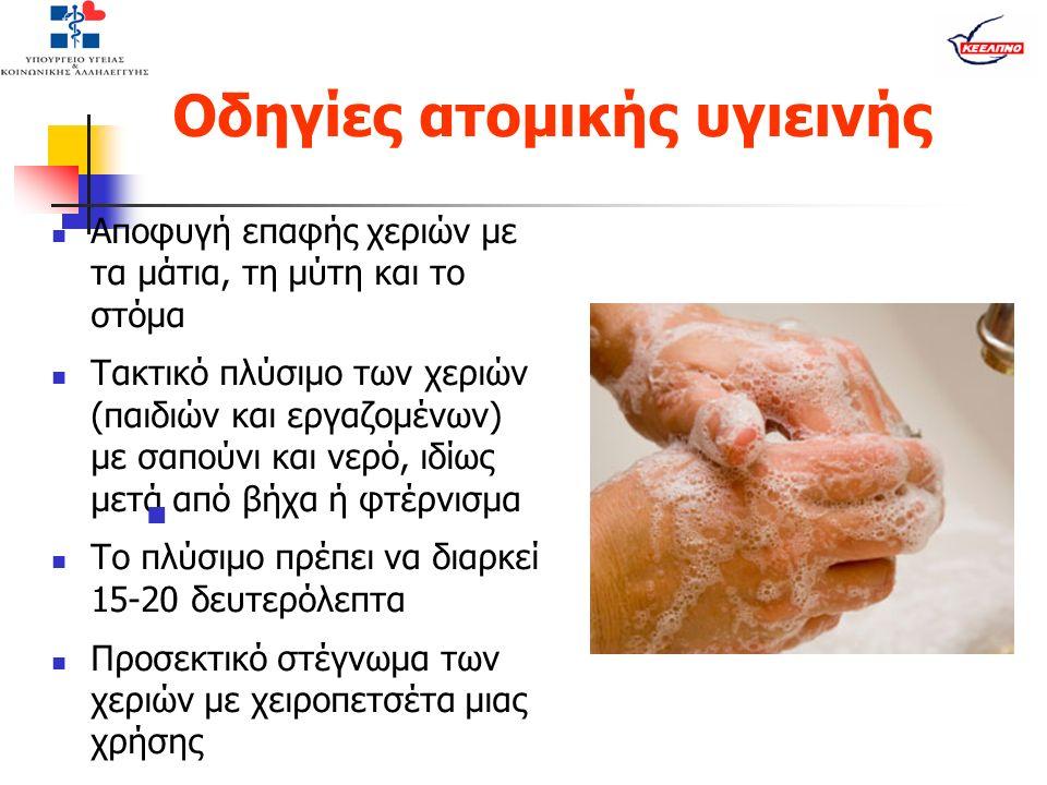 Οδηγίες ατομικής υγιεινής Αποφυγή επαφής χεριών με τα μάτια, τη μύτη και το στόμα Τακτικό πλύσιμο των χεριών (παιδιών και εργαζομένων) με σαπούνι και νερό, ιδίως μετά από βήχα ή φτέρνισμα Το πλύσιμο πρέπει να διαρκεί 15-20 δευτερόλεπτα Προσεκτικό στέγνωμα των χεριών με χειροπετσέτα μιας χρήσης