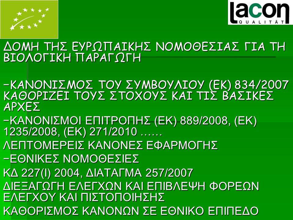 Κυπριακή νομοθεσία για τη βιολογική παραγωγή Νόμος 227(Ι) 2004 1.Ορίζει το Τμήμα Γεωργίας ως την Αρμόδια Αρχή ( Χορηγεί άδειες σε φορείς, ελέγχει τους φορείς, επιχειρηματίες, χορηγεί άδειες εισαγωγής από τρίτες χώρες) 2.Απόφαση για σύσταση και λειτουργία Συμβουλίου βιολογικών προϊόντων ( Γνωμοδοτεί για θέματα ανάπτυξης του τομέα, υποβάλλει εισηγήσεις για χορήγηση και ανανέωση αδειών για τους φορείς).