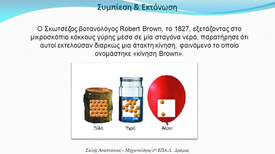 Σαλής Αναστάσιος – Μηχανολόγος 1 ου ΕΠΑ.Λ. Δράμας Συμπίεση & Εκτόνωση Ο Σκωτσέζος βοτανολόγος Robert Brown, το 1827, εξετάζοντας στο μικροσκόπιο κόκκο