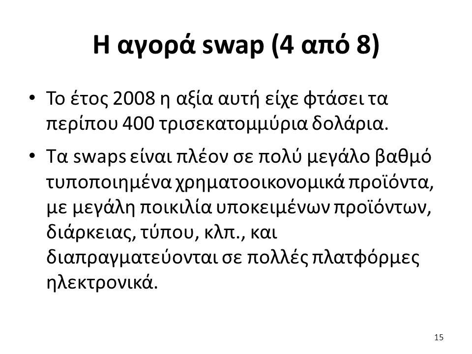 Η αγορά swap (4 από 8) Το έτος 2008 η αξία αυτή είχε φτάσει τα περίπου 400 τρισεκατομμύρια δολάρια.
