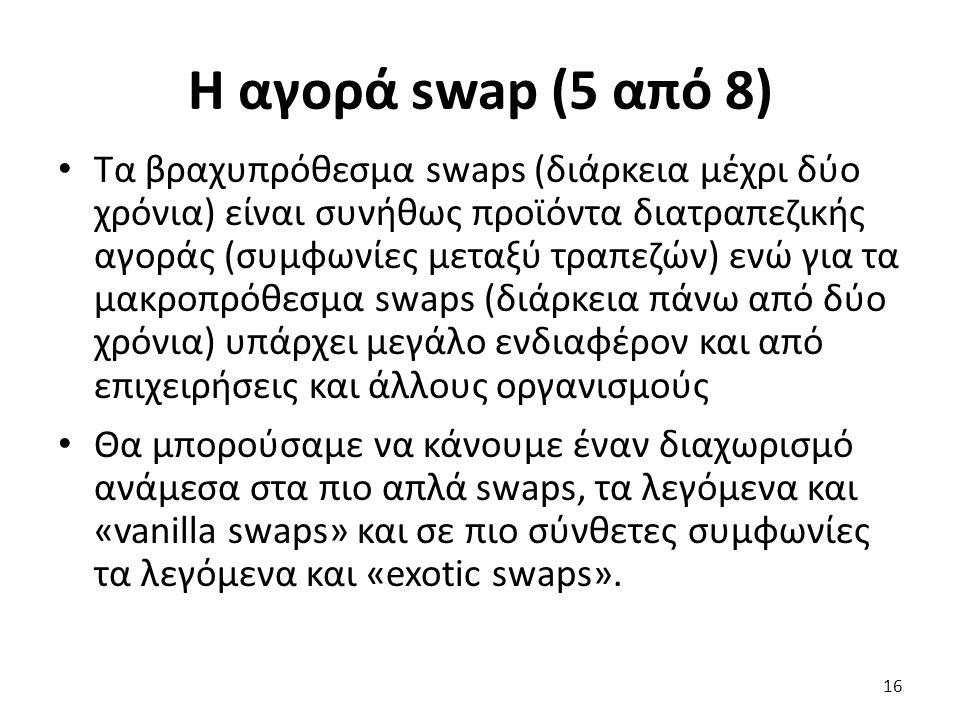 Η αγορά swap (5 από 8) Τα βραχυπρόθεσμα swaps (διάρκεια μέχρι δύο χρόνια) είναι συνήθως προϊόντα διατραπεζικής αγοράς (συμφωνίες μεταξύ τραπεζών) ενώ για τα μακροπρόθεσμα swaps (διάρκεια πάνω από δύο χρόνια) υπάρχει μεγάλο ενδιαφέρον και από επιχειρήσεις και άλλους οργανισμούς Θα μπορούσαμε να κάνουμε έναν διαχωρισμό ανάμεσα στα πιο απλά swaps, τα λεγόμενα και «vanilla swaps» και σε πιο σύνθετες συμφωνίες τα λεγόμενα και «exotic swaps».