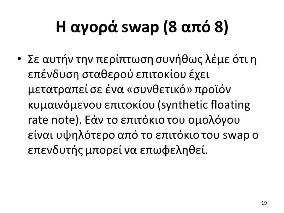 Η αγορά swap (8 από 8) Σε αυτήν την περίπτωση συνήθως λέμε ότι η επένδυση σταθερού επιτοκίου έχει μετατραπεί σε ένα «συνθετικό» προϊόν κυμαινόμενου επιτοκίου (synthetic floating rate note).