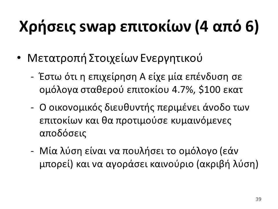 Χρήσεις swap επιτοκίων (4 από 6) Μετατροπή Στοιχείων Ενεργητικού -Έστω ότι η επιχείρηση Α είχε μία επένδυση σε ομόλογα σταθερού επιτοκίου 4.7%, $100 εκατ -Ο οικονομικός διευθυντής περιμένει άνοδο των επιτοκίων και θα προτιμούσε κυμαινόμενες αποδόσεις -Μία λύση είναι να πουλήσει το ομόλογο (εάν μπορεί) και να αγοράσει καινούριο (ακριβή λύση) 39