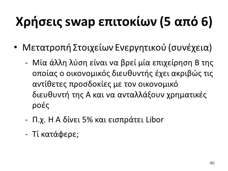 Χρήσεις swap επιτοκίων (5 από 6) Μετατροπή Στοιχείων Ενεργητικού (συνέχεια) -Μία άλλη λύση είναι να βρεί μία επιχείρηση Β της οποίας ο οικονομικός διευθυντής έχει ακριβώς τις αντίθετες προσδοκίες με τον οικονομικό διευθυντή της Α και να ανταλλάξουν χρηματικές ροές -Π.χ.