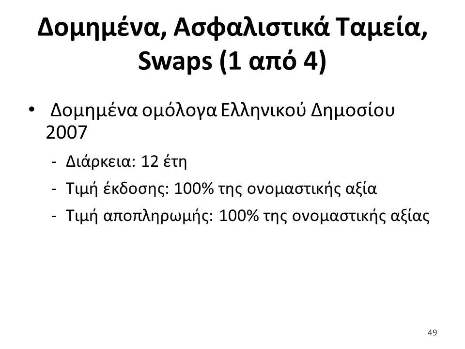 Δομημένα, Ασφαλιστικά Ταμεία, Swaps (1 από 4) Δομημένα ομόλογα Ελληνικού Δημοσίου 2007 -Διάρκεια: 12 έτη -Τιμή έκδοσης: 100% της ονομαστικής αξία -Τιμή αποπληρωμής: 100% της ονομαστικής αξίας 49