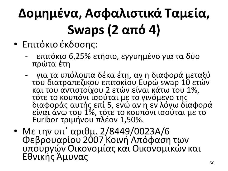 Δομημένα, Ασφαλιστικά Ταμεία, Swaps (2 από 4) Επιτόκιο έκδοσης: -επιτόκιο 6,25% ετήσιο, εγγυημένο για τα δύο πρώτα έτη -για τα υπόλοιπα δέκα έτη, αν η διαφορά μεταξύ του διατραπεζικού επιτοκίου Ευρώ swap 10 ετών και του αντιστοίχου 2 ετών είναι κάτω του 1%, τότε το κουπόνι ισούται με το γινόμενο της διαφοράς αυτής επί 5, ενώ αν η εν λόγω διαφορά είναι άνω του 1%, τότε το κουπόνι ισούται με το Euribor τριμήνου πλέον 1,50%.