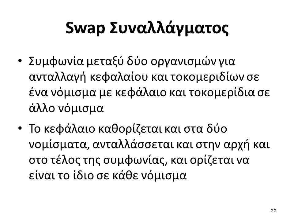 Swap Συναλλάγματος Συμφωνία μεταξύ δύο οργανισμών για ανταλλαγή κεφαλαίου και τοκομεριδίων σε ένα νόμισμα με κεφάλαιο και τοκομερίδια σε άλλο νόμισμα Το κεφάλαιο καθορίζεται και στα δύο νομίσματα, ανταλλάσσεται και στην αρχή και στο τέλος της συμφωνίας, και ορίζεται να είναι το ίδιο σε κάθε νόμισμα 55