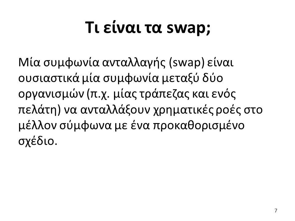 Τι είναι τα swap; Μία συμφωνία ανταλλαγής (swap) είναι ουσιαστικά μία συμφωνία μεταξύ δύο οργανισμών (π.χ.