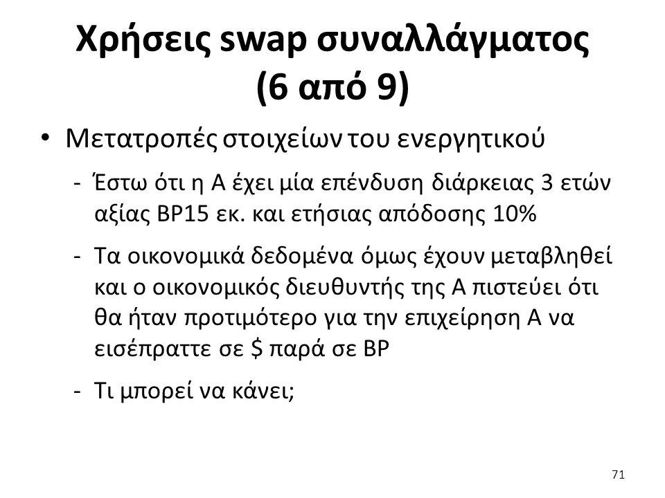Χρήσεις swap συναλλάγματος (6 από 9) Μετατροπές στοιχείων του ενεργητικού -Έστω ότι η Α έχει μία επένδυση διάρκειας 3 ετών αξίας ΒΡ15 εκ.