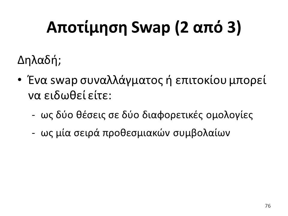 Αποτίμηση Swap (2 από 3) Δηλαδή; Ένα swap συναλλάγματος ή επιτοκίου μπορεί να ειδωθεί είτε: -ως δύο θέσεις σε δύο διαφορετικές ομολογίες -ως μία σειρά προθεσμιακών συμβολαίων 76