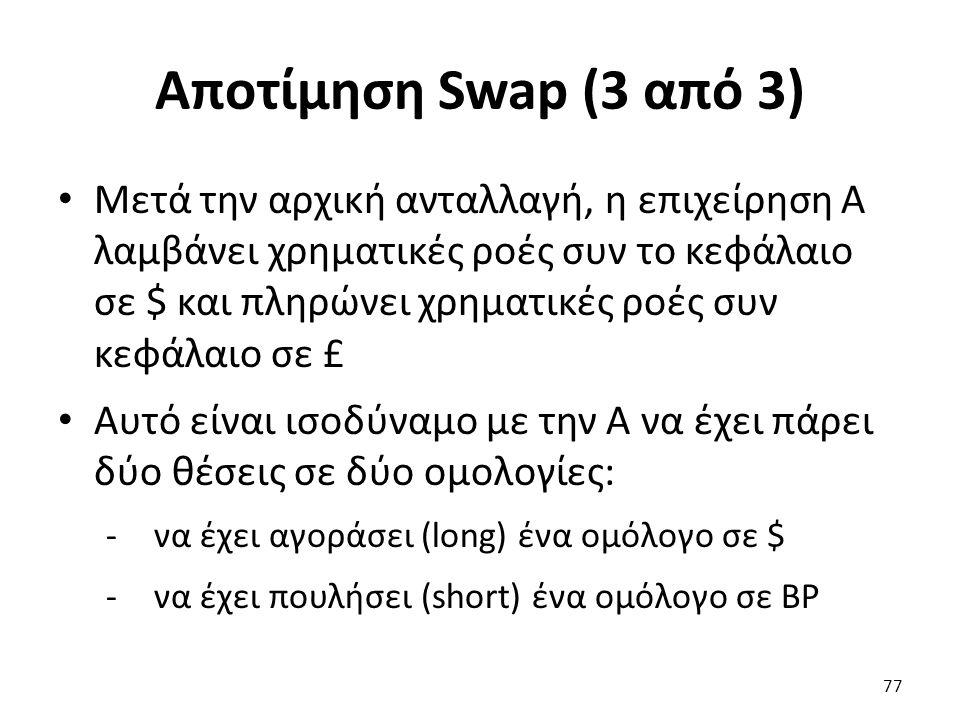 Αποτίμηση Swap (3 από 3) Μετά την αρχική ανταλλαγή, η επιχείρηση Α λαμβάνει χρηματικές ροές συν το κεφάλαιο σε $ και πληρώνει χρηματικές ροές συν κεφάλαιο σε £ Αυτό είναι ισοδύναμο με την Α να έχει πάρει δύο θέσεις σε δύο ομολογίες: -να έχει αγοράσει (long) ένα ομόλογο σε $ -να έχει πουλήσει (short) ένα ομόλογο σε ΒΡ 77