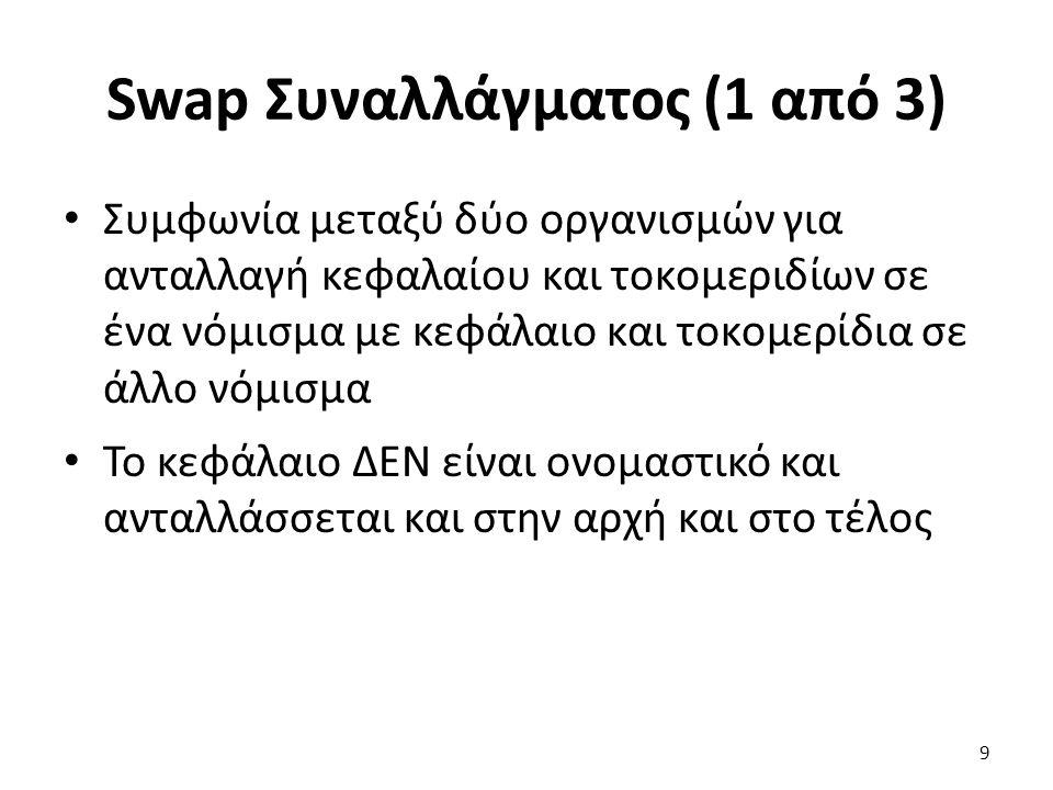 Swap Συναλλάγματος (1 από 3) Συμφωνία μεταξύ δύο οργανισμών για ανταλλαγή κεφαλαίου και τοκομεριδίων σε ένα νόμισμα με κεφάλαιο και τοκομερίδια σε άλλο νόμισμα Το κεφάλαιο ΔΕΝ είναι ονομαστικό και ανταλλάσσεται και στην αρχή και στο τέλος 9
