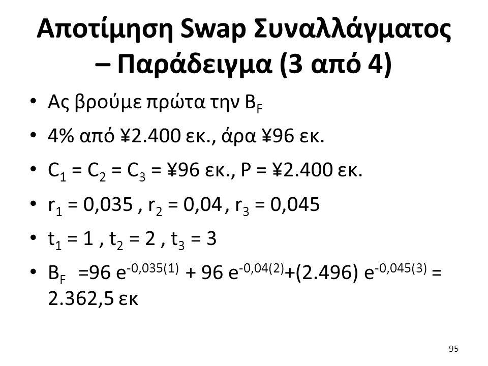 Αποτίμηση Swap Συναλλάγματος – Παράδειγμα (3 από 4) Ας βρούμε πρώτα την B F 4% από ¥2.400 εκ., άρα ¥96 εκ.