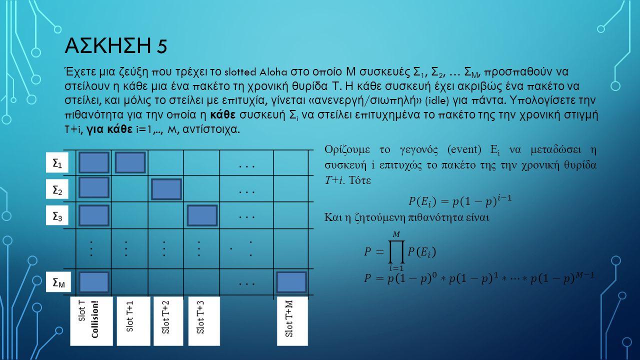 ΑΣΚΗΣΗ 5 Έχετε μια ζεύξη π ου τρέχει το slotted Aloha στο ο π οίο Μ συσκευές Σ 1, Σ 2, … Σ Μ, π ροσ π αθούν να στείλουν η κάθε μια ένα π ακέτο τη χρονική θυρίδα Τ.