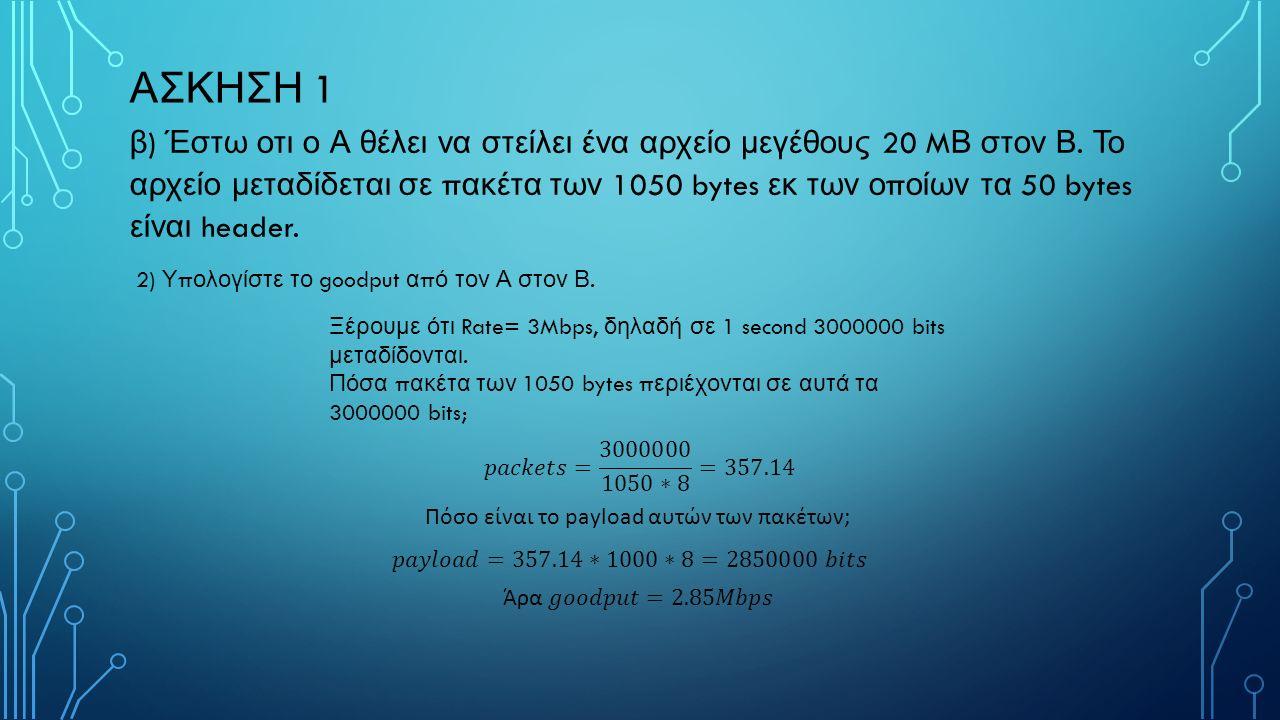 ΑΣΚΗΣΗ 1 γ ) Έστω τώρα οτι ο Α θέλει να στείλει το ίδιο αρχείο με το ερώτημα β, αλλά ο Β μόλις λάβει ένα π ακέτο και αφού το ε π εξεργαστεί για 1 ms α π οστέλλει στον Α ένα π ακέτο αναγνώρισης (acknowledgment) μεγέθους 30 bytes.