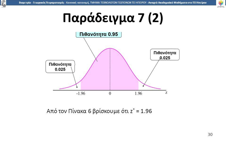 3030 Βιομετρία - Γεωργικός Πειραματισμός - Κανονική κατανομή, ΤΜΗΜΑ ΤΕΧΝΟΛΟΓΩΝ ΓΕΩΠΟΝΩΝ ΤΕΙ ΗΠΕΙΡΟΥ - Ανοιχτά Ακαδημαϊκά Μαθήματα στο ΤΕΙ Ηπείρου Από τον Πίνακα 6 βρίσκουμε ότι z * = 1.96 30 Παράδειγμα 7 (2)