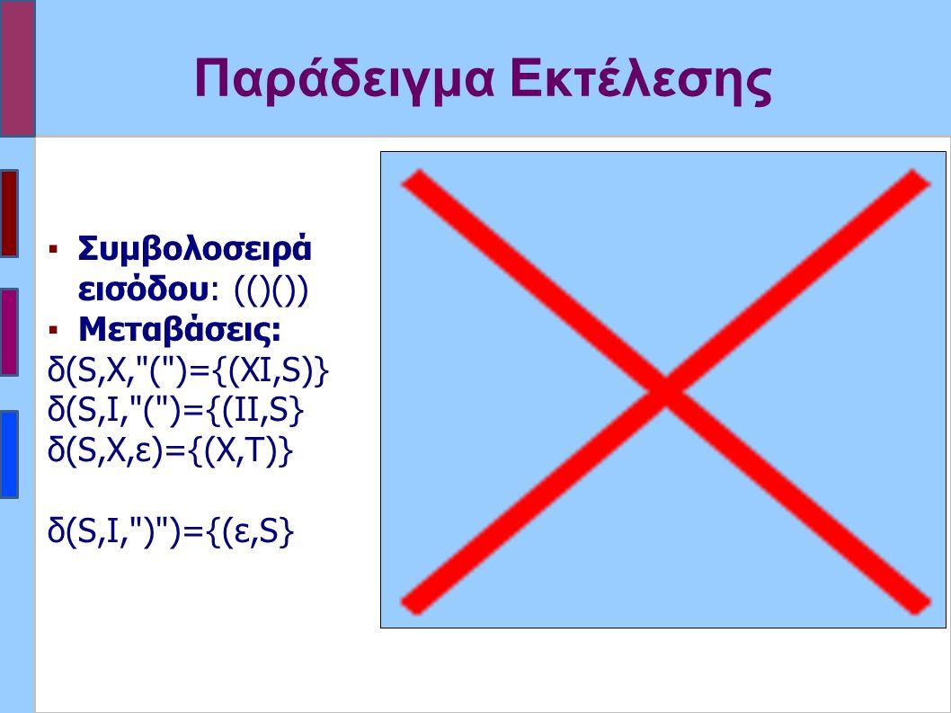 Παράδειγμα Εκτέλεσης ▪Συμβολοσειρά εισόδου: (()()) ▪Μεταβάσεις: δ(S,X, ( )={(XI,S)} δ(S,I, ( )={(ΙI,S} δ(S,X,ε)={(X,Τ)} δ(S,I, ) )={(ε,S}