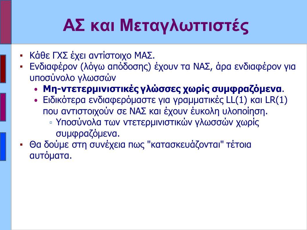 ΑΣ και Μεταγλωττιστές ▪Κάθε ΓΧΣ έχει αντίστοιχο ΜΑΣ.