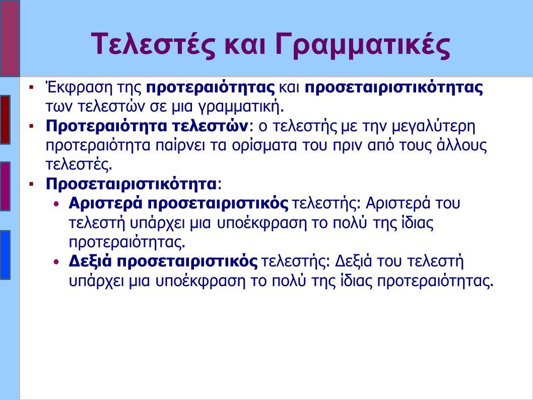 Τελεστές και Γραμματικές ▪Έκφραση της προτεραιότητας και προσεταιριστικότητας των τελεστών σε μια γραμματική.