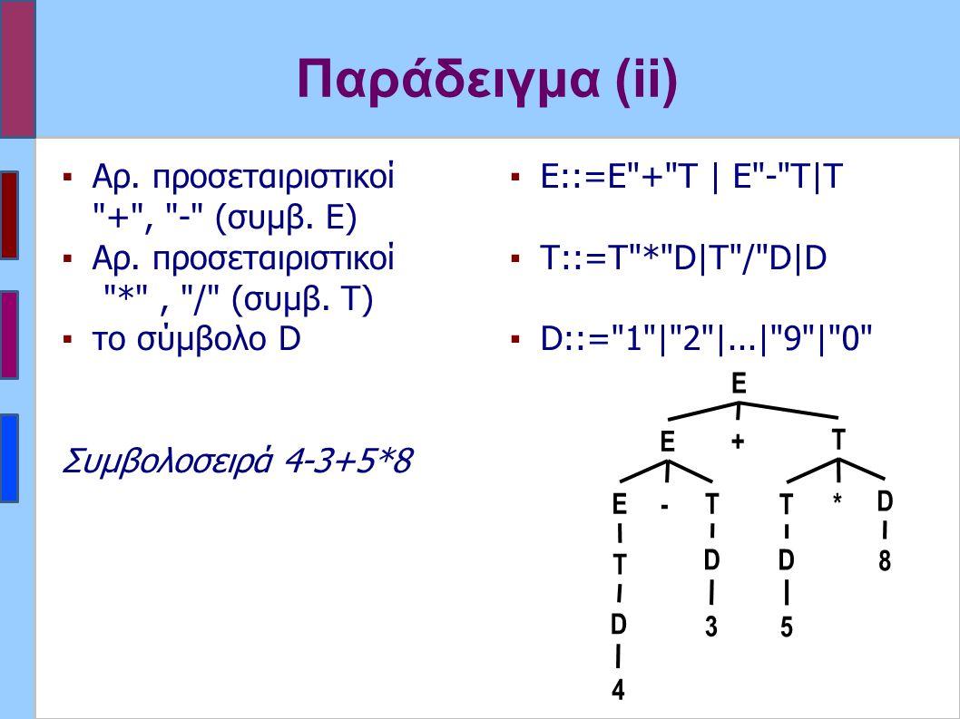 Παράδειγμα (ii) ▪Αρ. προσεταιριστικοί + , - (συμβ.