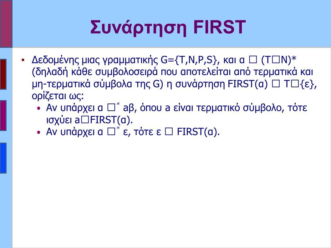 Συνάρτηση FIRST ▪Δεδομένης μιας γραμματικής G={T,N,P,S}, και α  (Τ  Ν)* (δηλαδή κάθε συμβολοσειρά που αποτελείται από τερματικά και μη-τερματικά σύμβολα της G) η συνάρτηση FIRST(α)  Τ  {ε}, ορίζεται ως: Αν υπάρχει α  * aβ, όπου a είναι τερματικό σύμβολο, τότε ισχύει a  FIRST(α).