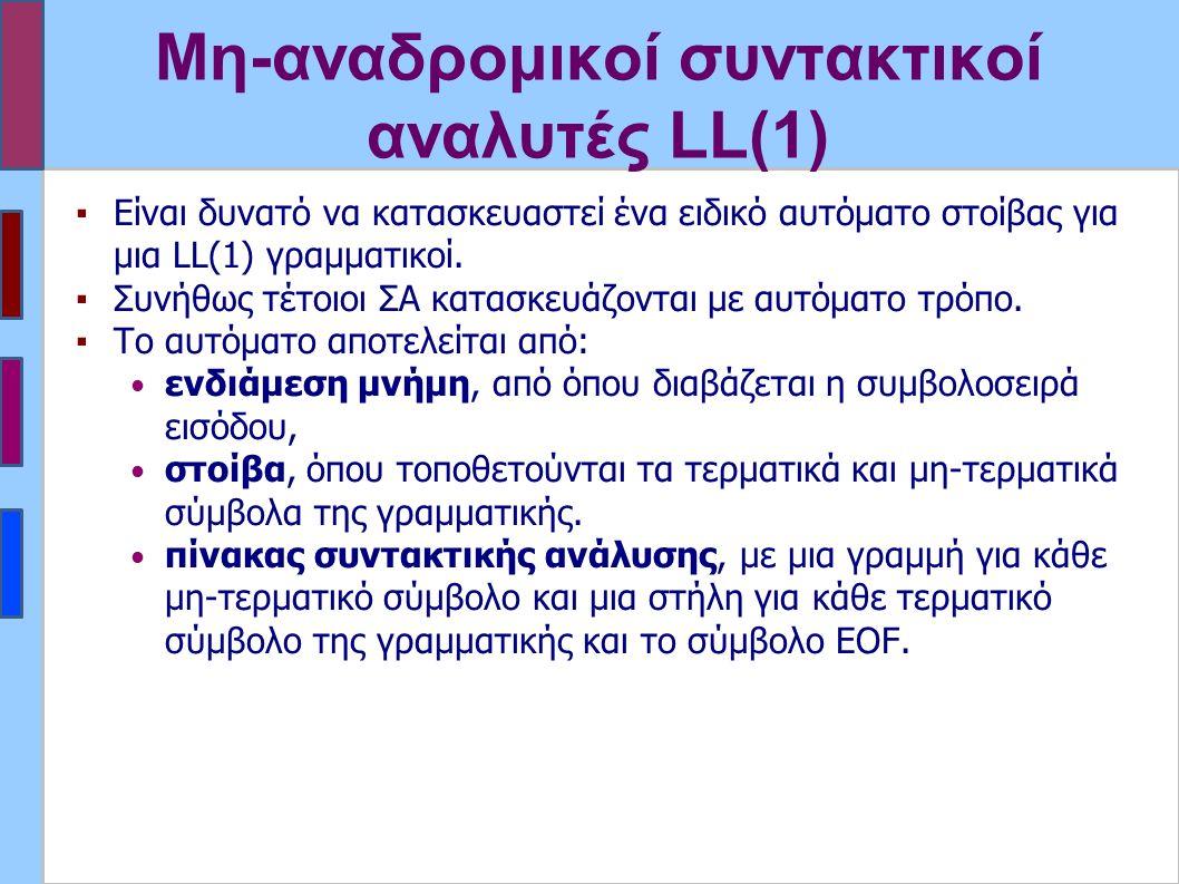Μη-αναδρομικοί συντακτικοί αναλυτές LL(1) ▪Είναι δυνατό να κατασκευαστεί ένα ειδικό αυτόματο στοίβας για μια LL(1) γραμματικοί.