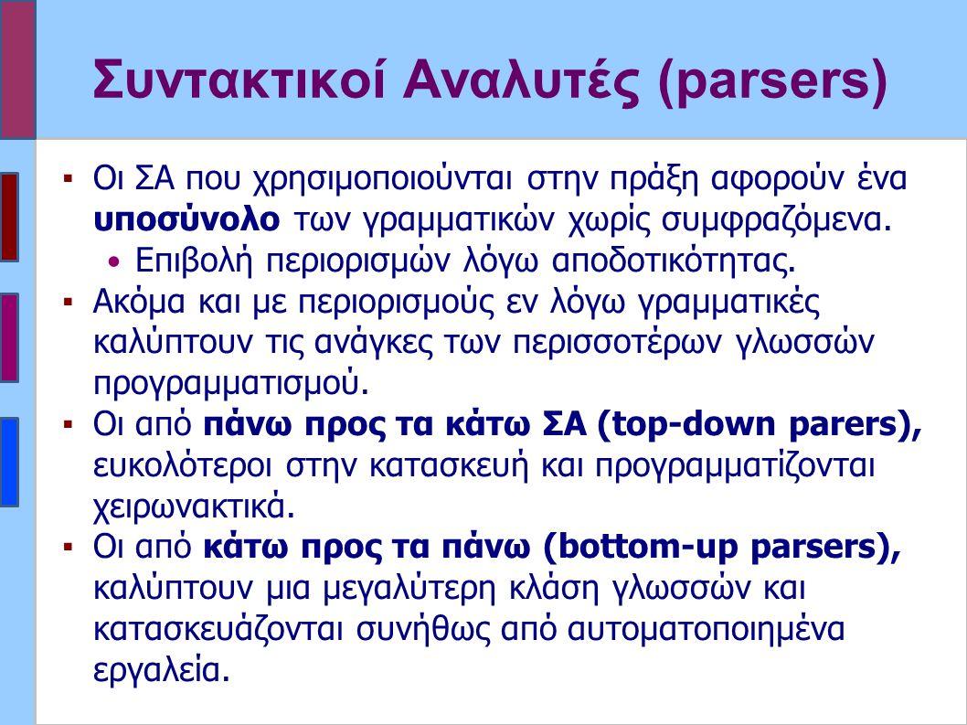 Συντακτικοί Αναλυτές (parsers) ▪Οι ΣΑ που χρησιμοποιούνται στην πράξη αφορούν ένα υποσύνολο των γραμματικών χωρίς συμφραζόμενα.