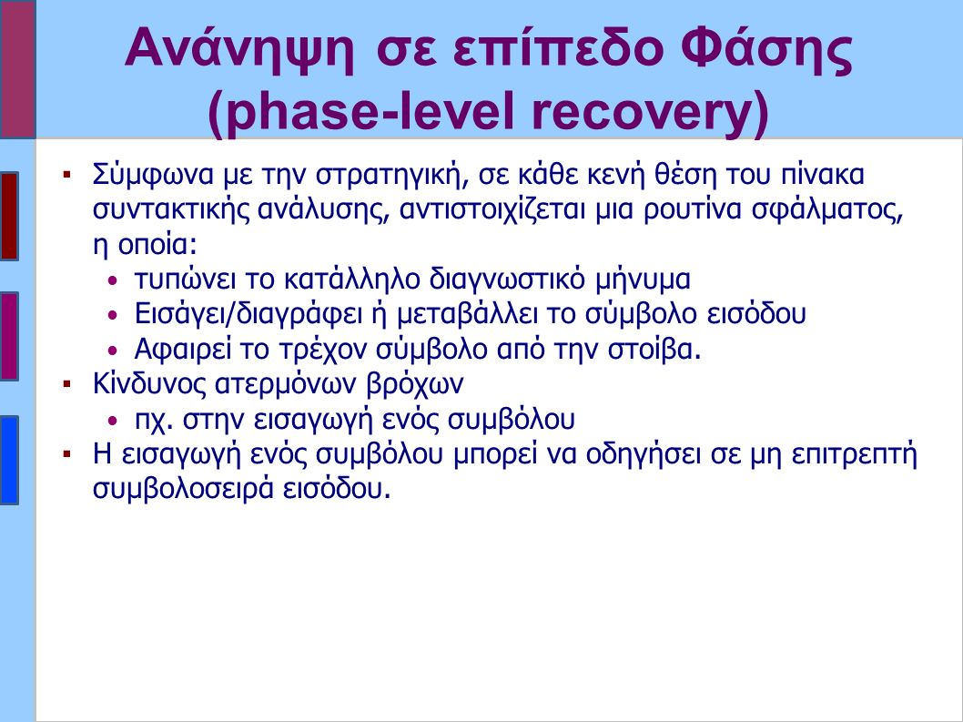 Ανάνηψη σε επίπεδο Φάσης (phase-level recovery) ▪Σύμφωνα με την στρατηγική, σε κάθε κενή θέση του πίνακα συντακτικής ανάλυσης, αντιστοιχίζεται μια ρουτίνα σφάλματος, η οποία: τυπώνει το κατάλληλο διαγνωστικό μήνυμα Εισάγει/διαγράφει ή μεταβάλλει το σύμβολο εισόδου Αφαιρεί το τρέχον σύμβολο από την στοίβα.