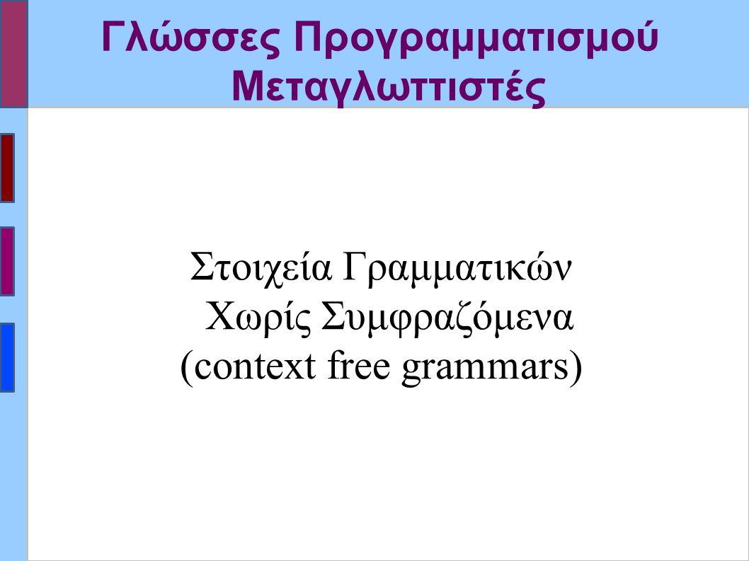 Παραγωγές στις Γραμματικές χωρίς Συμφραζόμενα (ΓΧΣ) ▪Παραγωγή: Αντικατάσταση υποσυμβολοσειράς που ταιριάζει με αριστερό μέλος, με το αντίστοιχο δεξιό μέλος του κανόνα παραγωγής.