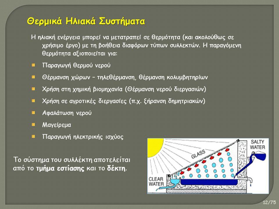 12/75 Η ηλιακή ενέργεια μπορεί να μετατραπεί σε θερμότητα (και ακολούθως σε χρήσιμο έργο) με τη βοήθεια διαφόρων τύπων συλλεκτών.