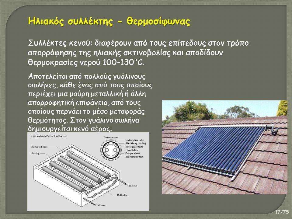 17/75 Συλλέκτες κενού: διαφέρουν από τους επίπεδους στον τρόπο απορρόφησης της ηλιακής ακτινοβολίας και αποδίδουν θερμοκρασίες νερού 100-130°C.