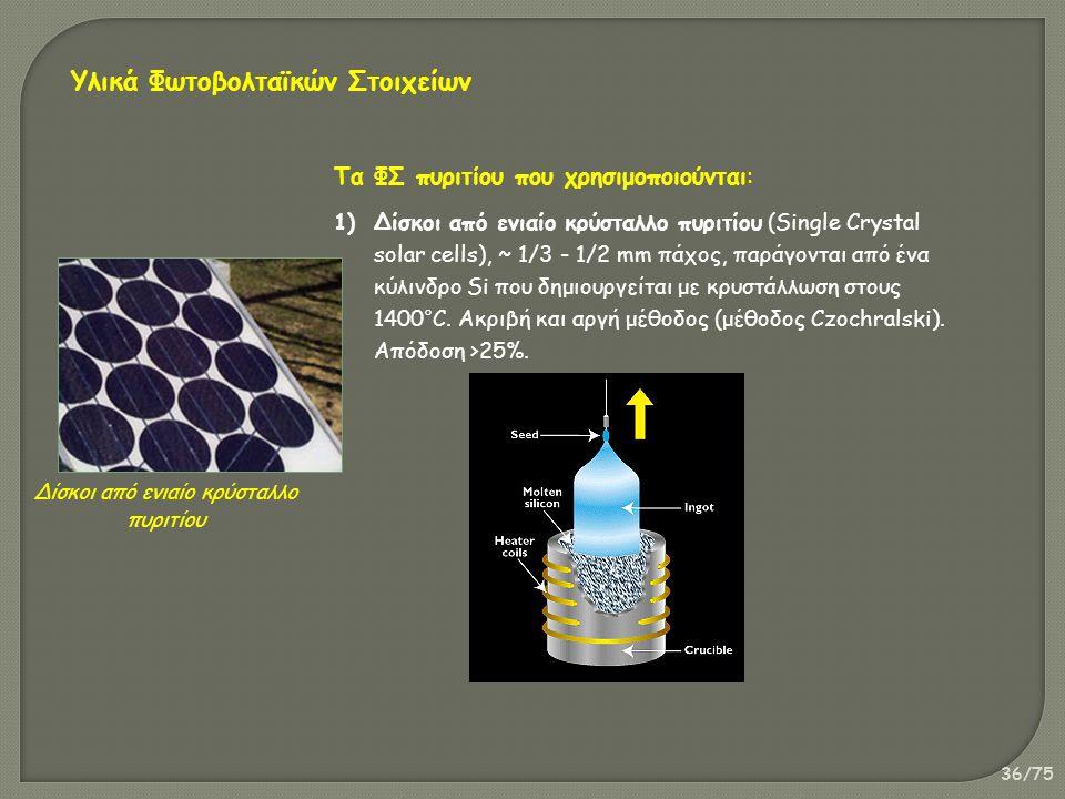 36/75 Δίσκοι από ενιαίο κρύσταλλο πυριτίου Τα ΦΣ πυριτίου που χρησιμοποιούνται: 1)Δίσκοι από ενιαίο κρύσταλλο πυριτίου (Single Crystal solar cells), ~ 1/3 - 1/2 mm πάχος, παράγονται από ένα κύλινδρο Si που δημιουργείται με κρυστάλλωση στους 1400°C.