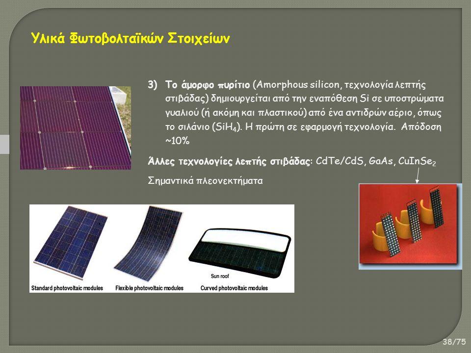 38/75 3)Το άμορφο πυρίτιο (Amorphous silicon, τεχνολογία λεπτής στιβάδας) δημιουργείται από την εναπόθεση Si σε υποστρώματα γυαλιού (ή ακόμη και πλαστικού) από ένα αντιδρών αέριο, όπως το σιλάνιο (SiH 4 ).