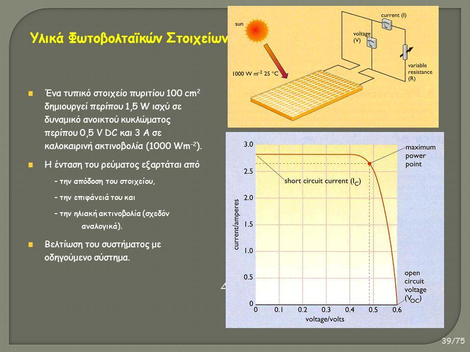 39/75 Ένα τυπικό στοιχείο πυριτίου 100 cm 2 δημιουργεί περίπου 1,5 W ισχύ σε δυναμικό ανοικτού κυκλώματος περίπου 0,5 V DC και 3 Α σε καλοκαιρινή ακτινοβολία (1000 Wm -2 ).