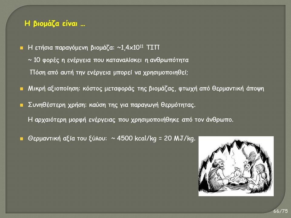 66/75 Η ετήσια παραγόμενη βιομάζα: ~1,4x10 11 ΤΙΠ ~ 10 φορές η ενέργεια που καταναλίσκει η ανθρωπότητα Πόση από αυτή την ενέργεια μπορεί να χρησιμοποιηθεί; Μικρή αξιοποίηση: κόστος μεταφοράς της βιομάζας, φτωχή από θερμαντική άποψη Συνηθέστερη χρήση: καύση της για παραγωγή θερμότητας.
