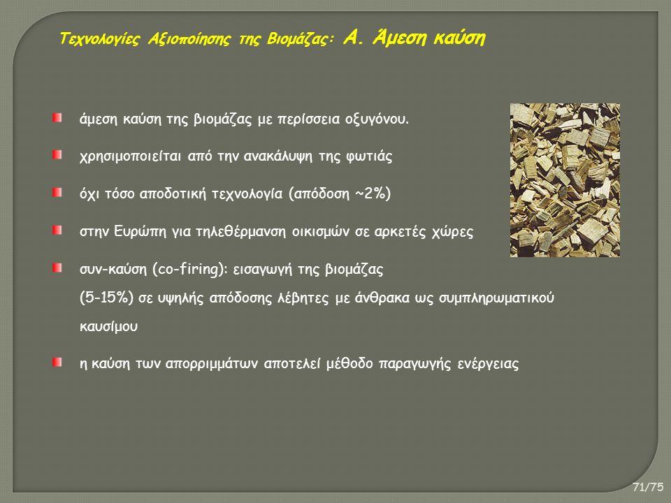 71/75 άμεση καύση της βιομάζας με περίσσεια οξυγόνου. χρησιμοποιείται από την ανακάλυψη της φωτιάς όχι τόσο αποδοτική τεχνολογία (απόδοση ~2%) στην Ευ
