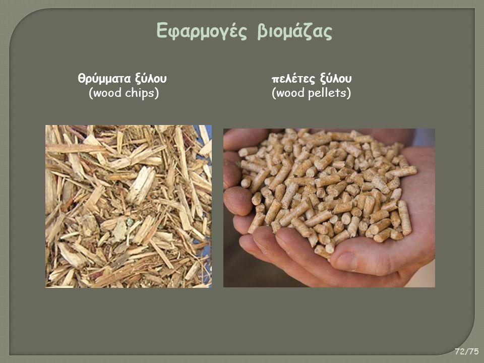 72/75 Εφαρμογές βιομάζας θρύμματα ξύλου πελέτες ξύλου (wood chips)(wood pellets)
