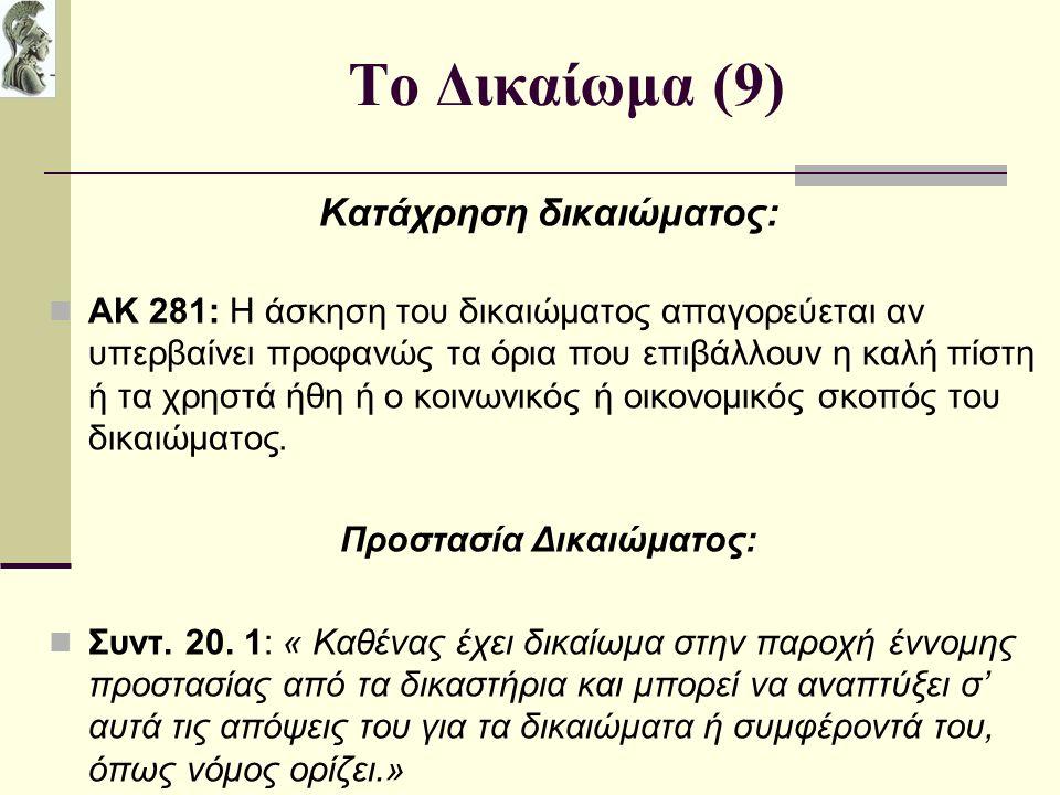 Το Δικαίωμα (9) Κατάχρηση δικαιώματος: ΑΚ 281: Η άσκηση του δικαιώματος απαγορεύεται αν υπερβαίνει προφανώς τα όρια που επιβάλλουν η καλή πίστη ή τα χρηστά ήθη ή ο κοινωνικός ή οικονομικός σκοπός του δικαιώματος.